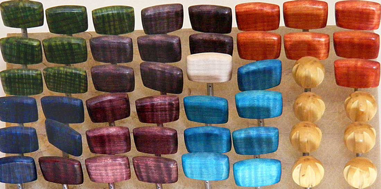 Showing a range of the colours we die the tuning pegs in.